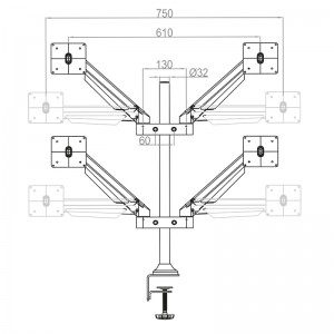 m vesa gas lift arm quad_zeichnung